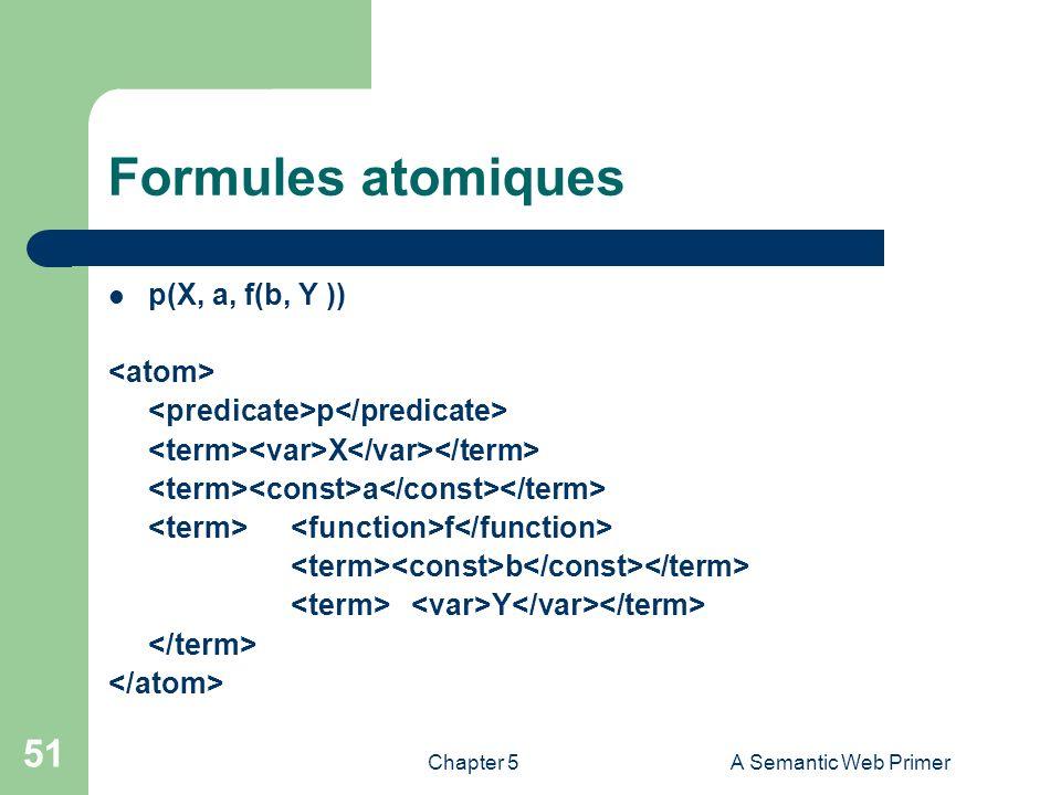 Chapter 5A Semantic Web Primer 51 Formules atomiques p(X, a, f(b, Y )) p X a f b Y