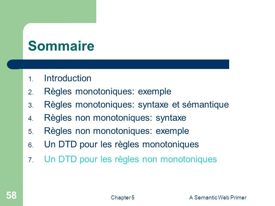 Chapter 5A Semantic Web Primer 58 Sommaire 1. Introduction 2. Règles monotoniques: exemple 3. Règles monotoniques: syntaxe et sémantique 4. Règles non