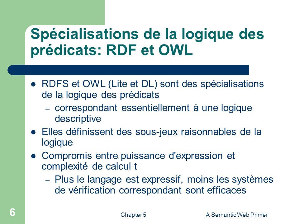 Chapter 5A Semantic Web Primer 6 Spécialisations de la logique des prédicats: RDF et OWL RDFS et OWL (Lite et DL) sont des spécialisations de la logiq