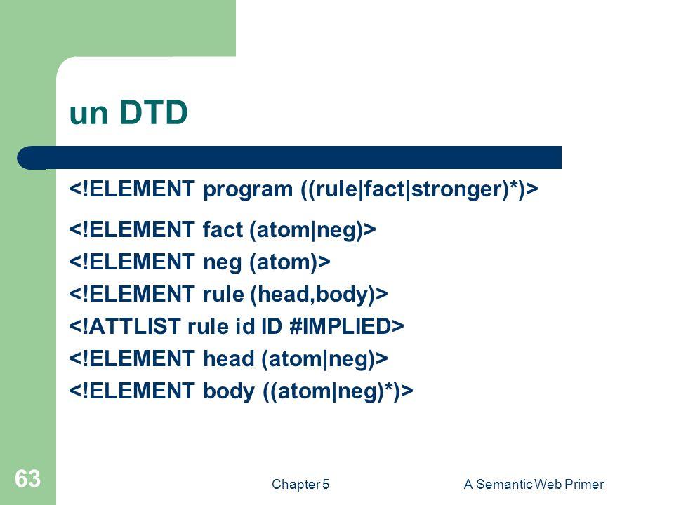 Chapter 5A Semantic Web Primer 63 un DTD