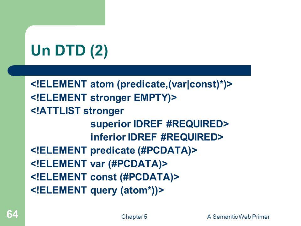 Chapter 5A Semantic Web Primer 64 Un DTD (2) <!ATTLIST stronger superior IDREF #REQUIRED> inferior IDREF #REQUIRED>