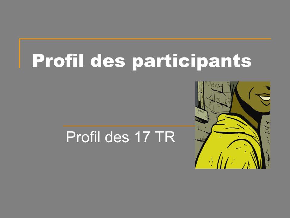 Profil des participants Profil des 17 TR