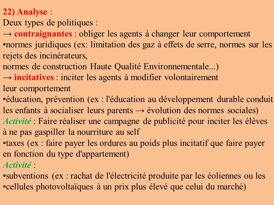 22) Analyse : Deux types de politiques : contraignantes : obliger les agents à changer leur comportement normes juridiques (ex: limitation des gaz à e