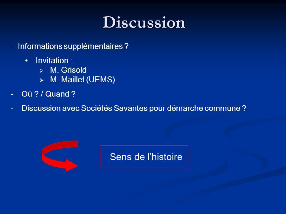 Discussion - Informations supplémentaires ? Invitation : M. Grisold M. Maillet (UEMS) -Où ? / Quand ? -Discussion avec Sociétés Savantes pour démarche