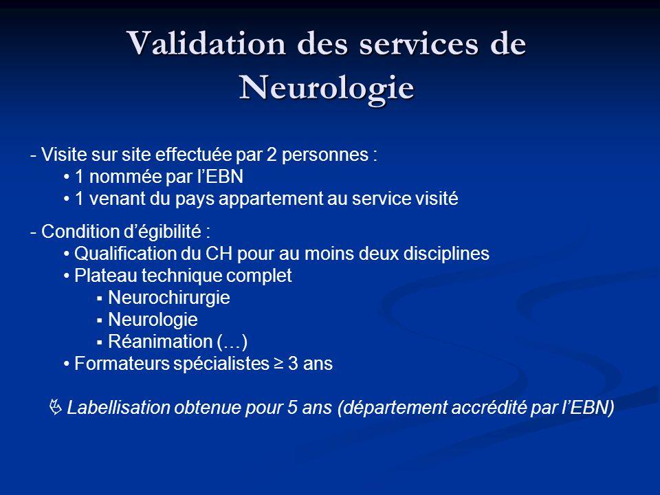 Validation des services de Neurologie - Visite sur site effectuée par 2 personnes : 1 nommée par lEBN 1 venant du pays appartement au service visité -