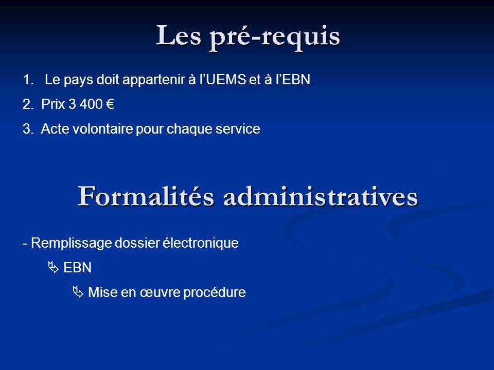 Les pré-requis 1. Le pays doit appartenir à lUEMS et à lEBN 2.Prix 3 400 3.Acte volontaire pour chaque service Formalités administratives - Remplissag