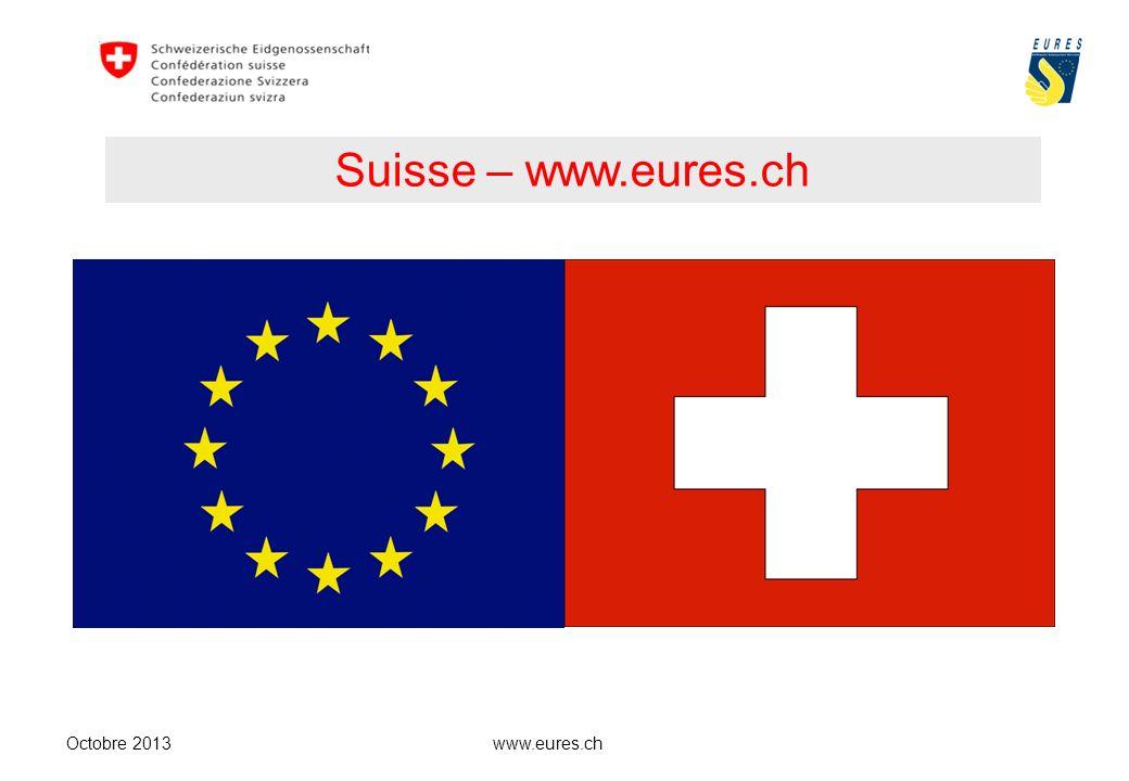www.eures.ch Etat fédéral - 26 cantons - 26 lois Octobre 2013 Surface:41,285 km2 Distances:220 km N – S 350 km E – O Population:8 millions (2012) dont 23% détrangers (Portugal 12,3 %)