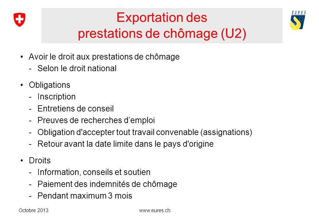 Exportation des prestations de chômage (U2) Avoir le droit aux prestations de chômage -Selon le droit national Obligations -Inscription -Entretiens de