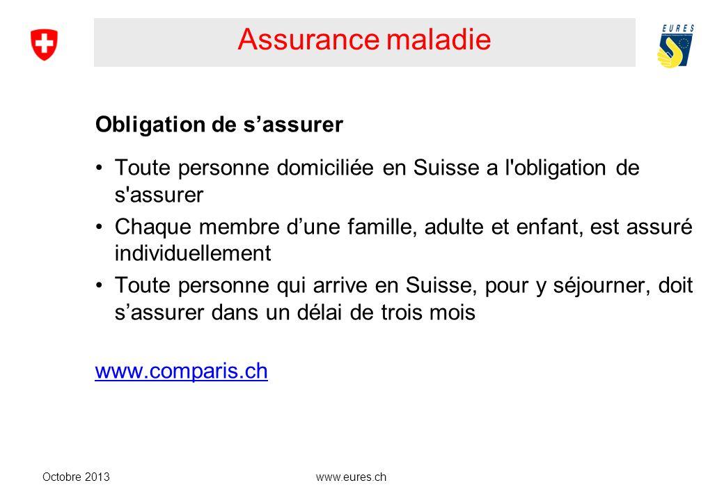 www.eures.ch Assurance maladie Obligation de sassurer Toute personne domiciliée en Suisse a l'obligation de s'assurer Chaque membre dune famille, adul