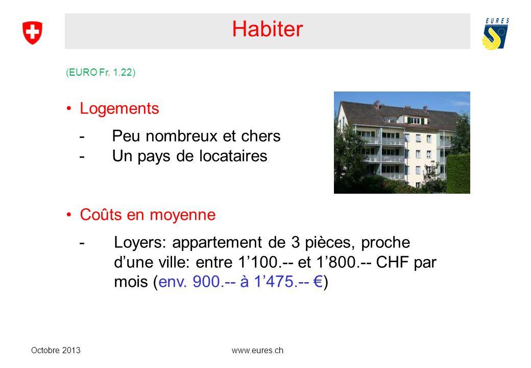 www.eures.ch Habiter Octobre 2013 (EURO Fr. 1.22) Logements -Peu nombreux et chers -Un pays de locataires Coûts en moyenne -Loyers: appartement de 3 p