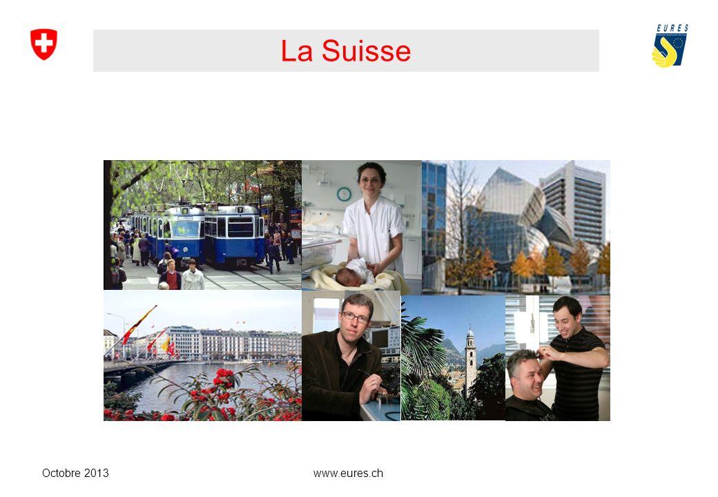 www.eures.ch Régions linguistiques suisses Octobre 2013 63 % Allemand 21 % Français 6,5 % Italien 9 % Autres langues 0,5 % Romanche
