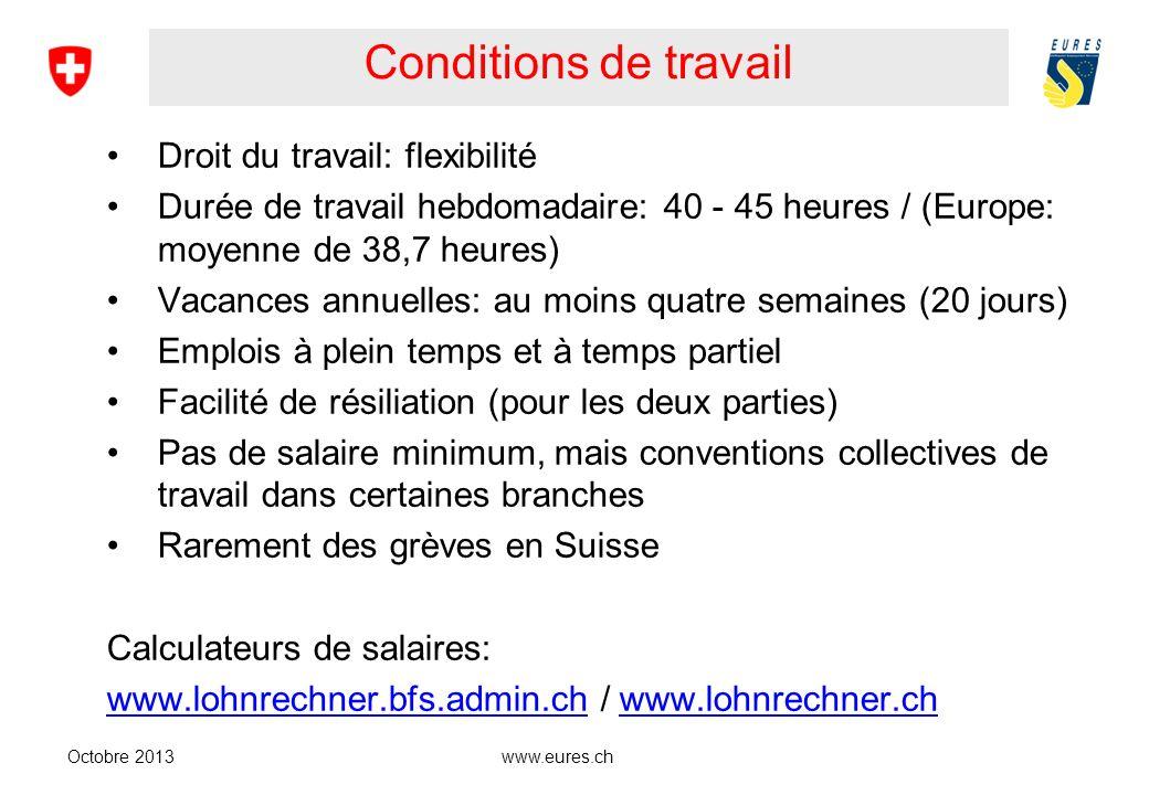www.eures.ch Conditions de travail Droit du travail: flexibilité Durée de travail hebdomadaire: 40 - 45 heures / (Europe: moyenne de 38,7 heures) Vaca