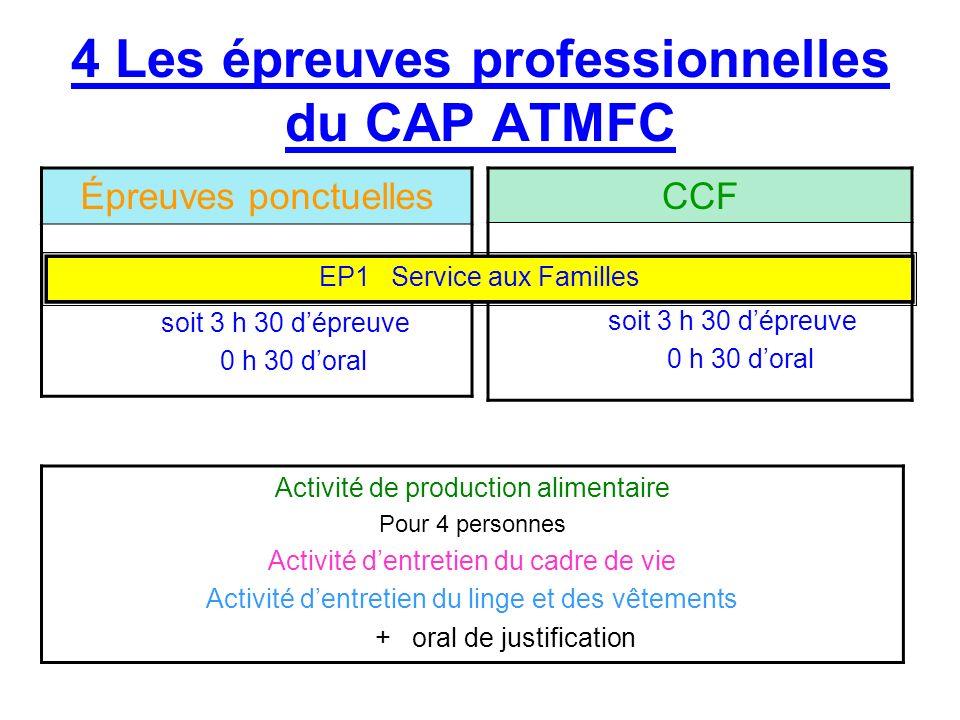 4 Les épreuves professionnelles du CAP ATMFC Épreuves ponctuelles Durée : 4 heures + 1 h VSP soit 3 h 30 dépreuve 0 h 30 doral CCF Durée : 4 heures +