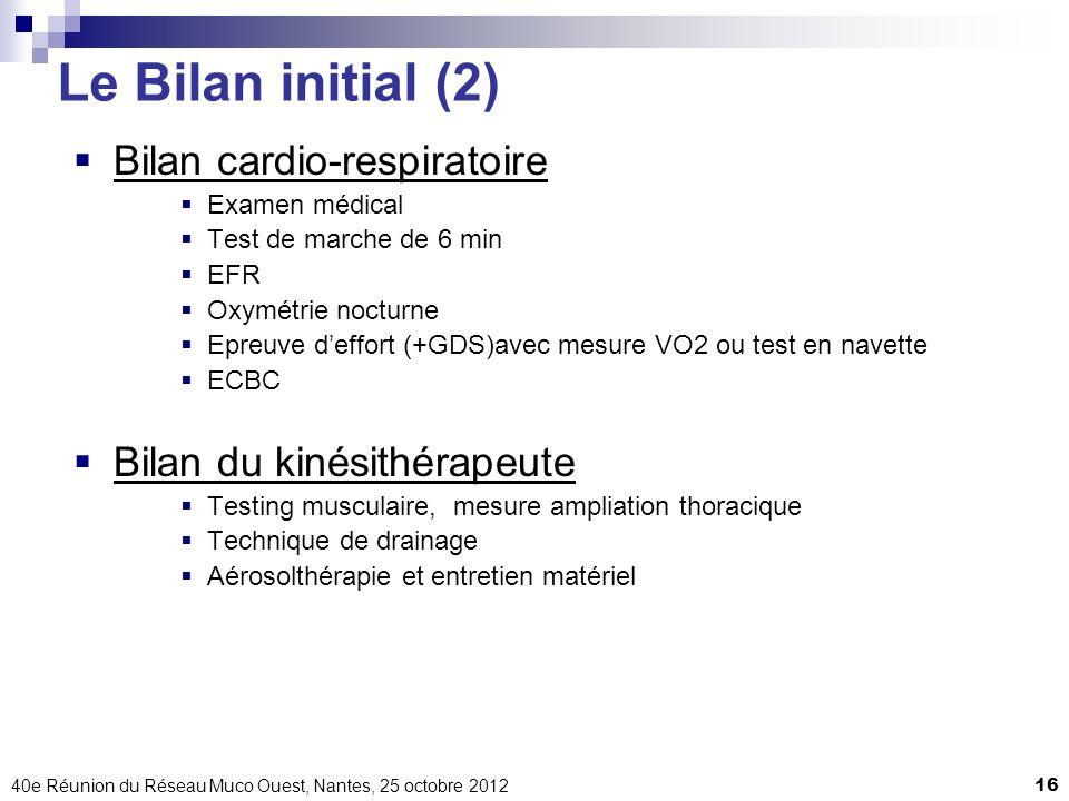 40e Réunion du Réseau Muco Ouest, Nantes, 25 octobre 201216 Le Bilan initial (2) Bilan cardio-respiratoire Examen médical Test de marche de 6 min EFR