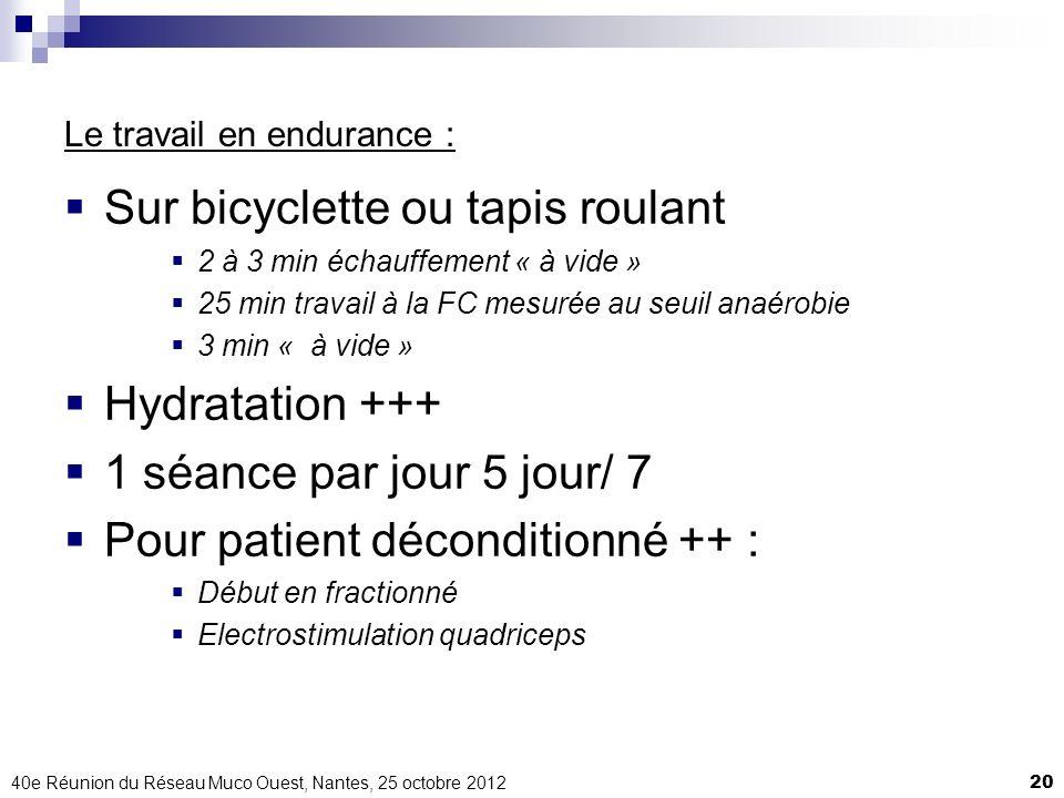 40e Réunion du Réseau Muco Ouest, Nantes, 25 octobre 201220 Le travail en endurance : Sur bicyclette ou tapis roulant 2 à 3 min échauffement « à vide