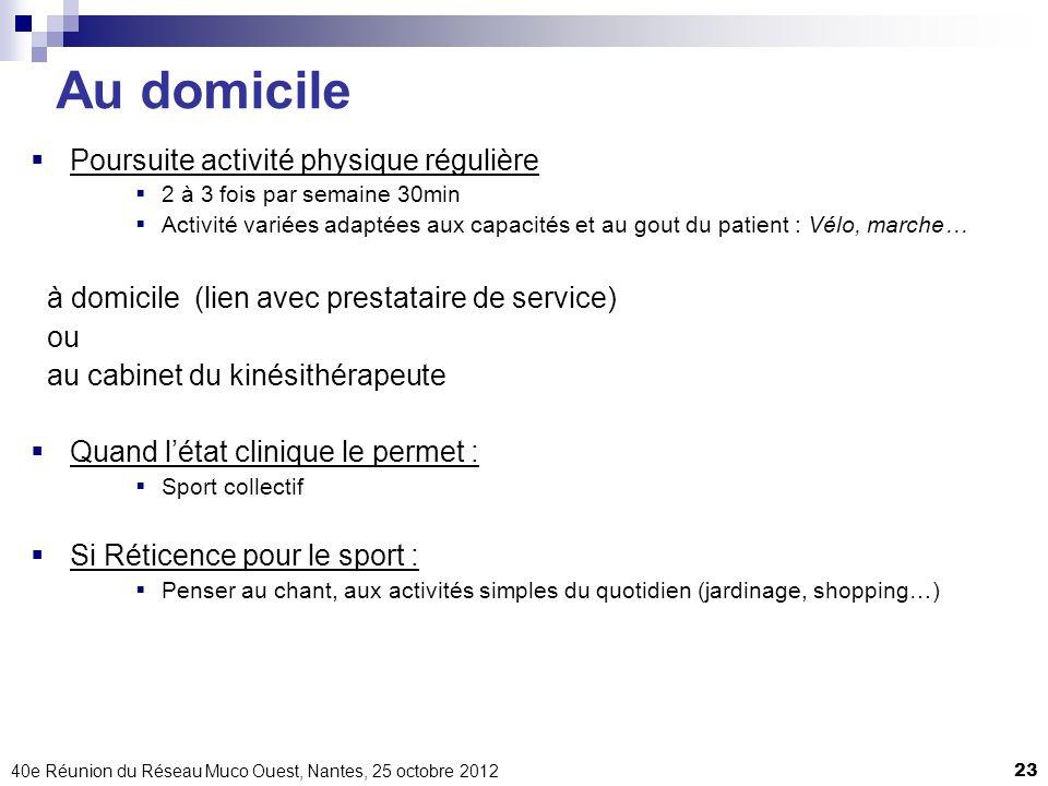 40e Réunion du Réseau Muco Ouest, Nantes, 25 octobre 201223 Au domicile Poursuite activité physique régulière 2 à 3 fois par semaine 30min Activité va