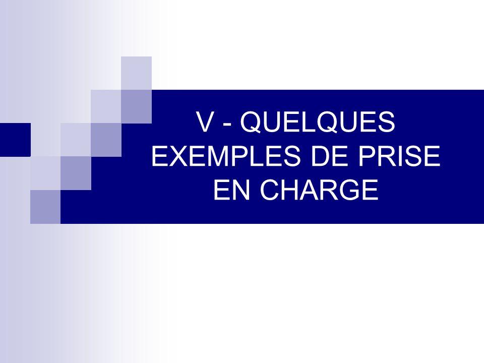 V - QUELQUES EXEMPLES DE PRISE EN CHARGE