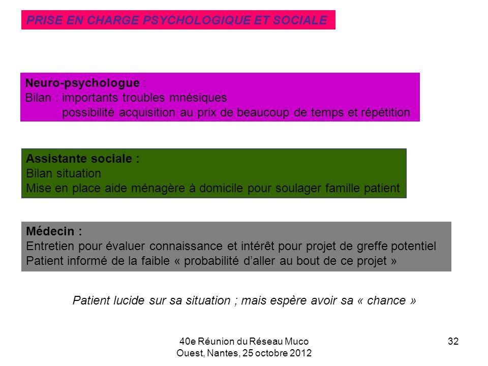 40e Réunion du Réseau Muco Ouest, Nantes, 25 octobre 2012 32 Neuro-psychologue : Bilan : importants troubles mnésiques possibilité acquisition au prix