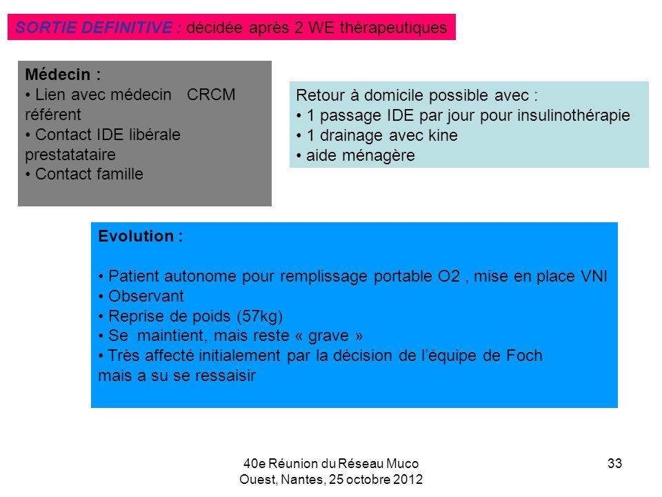 40e Réunion du Réseau Muco Ouest, Nantes, 25 octobre 2012 33 Médecin : Lien avec médecin CRCM référent Contact IDE libérale prestatataire Contact fami