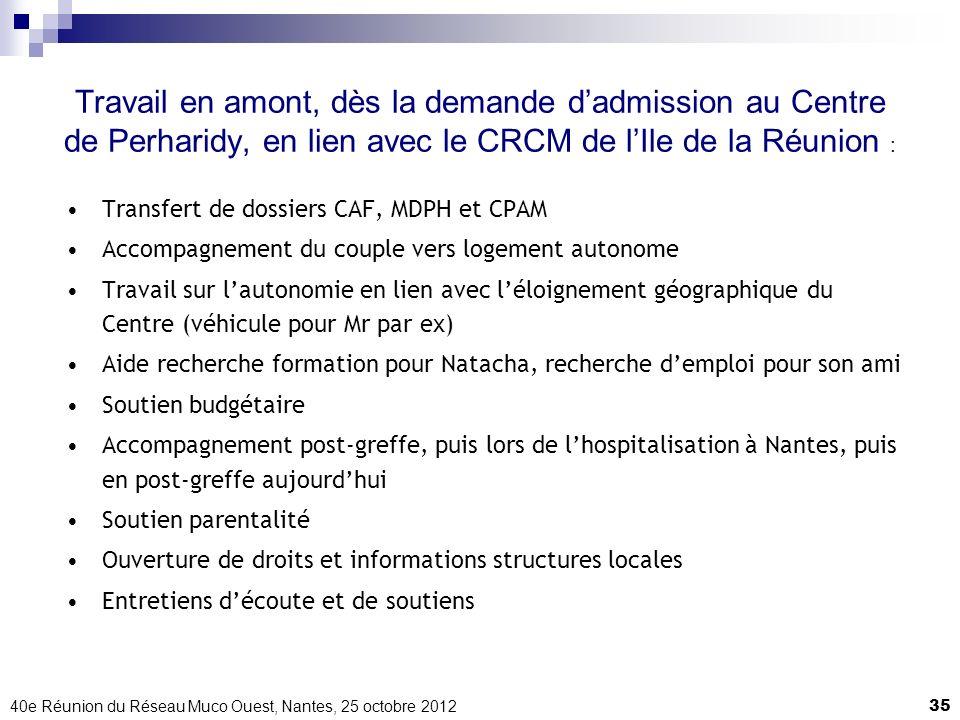40e Réunion du Réseau Muco Ouest, Nantes, 25 octobre 201235 Travail en amont, dès la demande dadmission au Centre de Perharidy, en lien avec le CRCM d