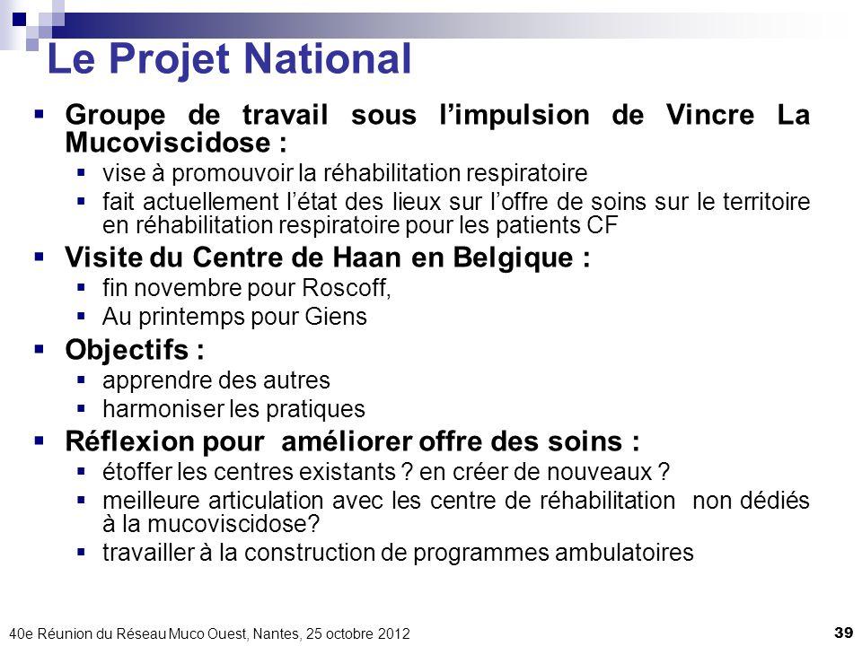 40e Réunion du Réseau Muco Ouest, Nantes, 25 octobre 201239 Le Projet National Groupe de travail sous limpulsion de Vincre La Mucoviscidose : vise à p