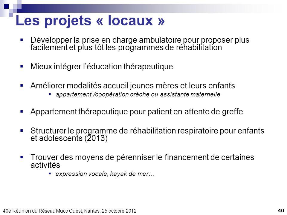 40e Réunion du Réseau Muco Ouest, Nantes, 25 octobre 201240 Les projets « locaux » Développer la prise en charge ambulatoire pour proposer plus facile