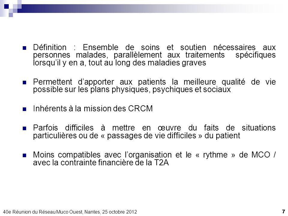40e Réunion du Réseau Muco Ouest, Nantes, 25 octobre 20127 Définition : Ensemble de soins et soutien nécessaires aux personnes malades, parallèlement