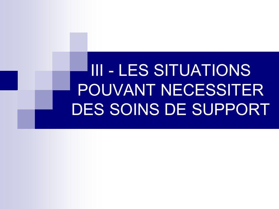 III - LES SITUATIONS POUVANT NECESSITER DES SOINS DE SUPPORT