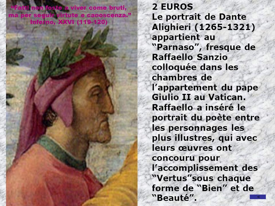2 EUROS Le portrait de Dante Alighieri (1265-1321) appartient au Parnaso, fresque de Raffaello Sanzio colloquée dans les chambres de lappartement du pape Giulio II au Vatican.