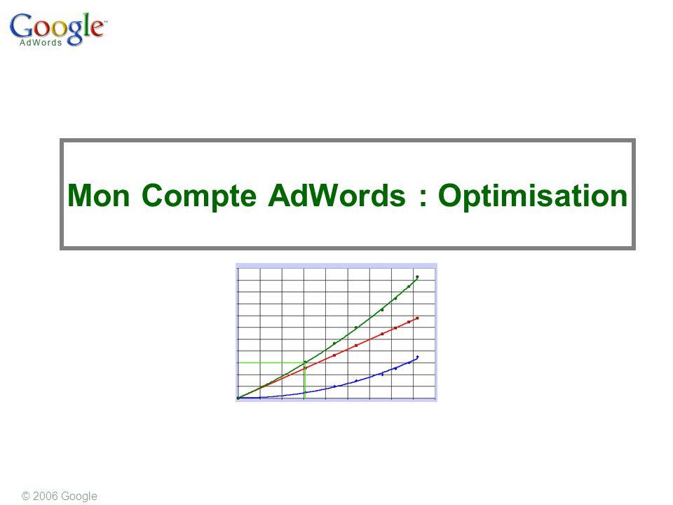 © 2006 Google Mon Compte AdWords : Optimisation