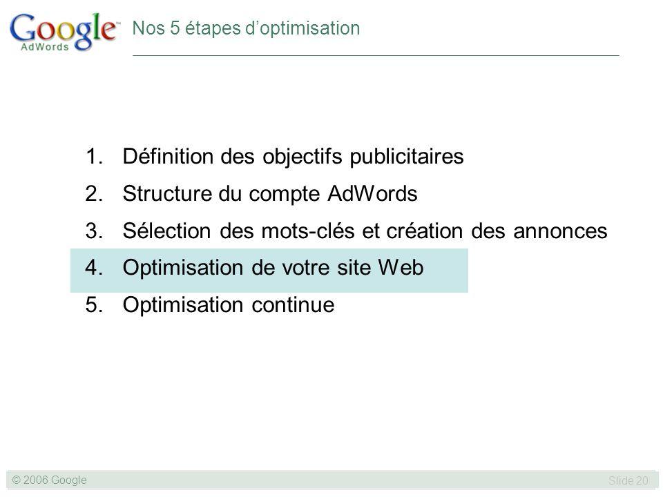 SLIDE 20© GOOGLE 2004 © 2006 Google Slide 20 Nos 5 étapes doptimisation 1.Définition des objectifs publicitaires 2.Structure du compte AdWords 3.Sélection des mots-clés et création des annonces 4.Optimisation de votre site Web 5.Optimisation continue