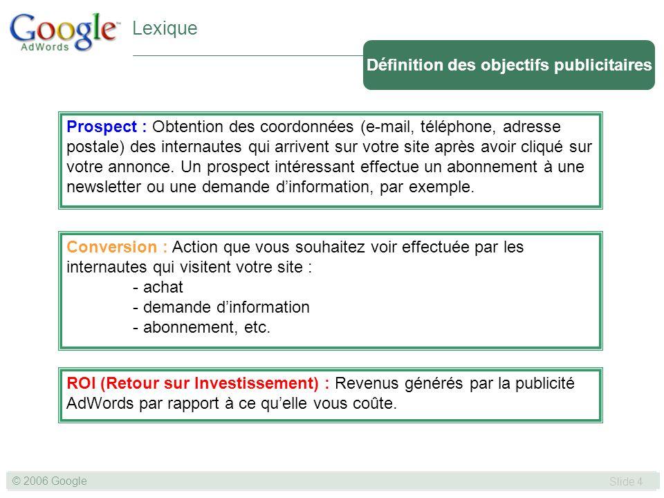 SLIDE 4© GOOGLE 2004 © 2006 Google Slide 4 Définition des objectifs publicitaires Lexique Prospect : Obtention des coordonnées (e-mail, téléphone, adresse postale) des internautes qui arrivent sur votre site après avoir cliqué sur votre annonce.