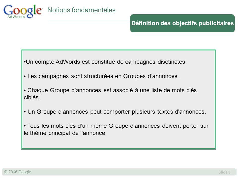 SLIDE 6© GOOGLE 2004 © 2006 Google Slide 6 Notions fondamentales Un compte AdWords est constitué de campagnes disctinctes.