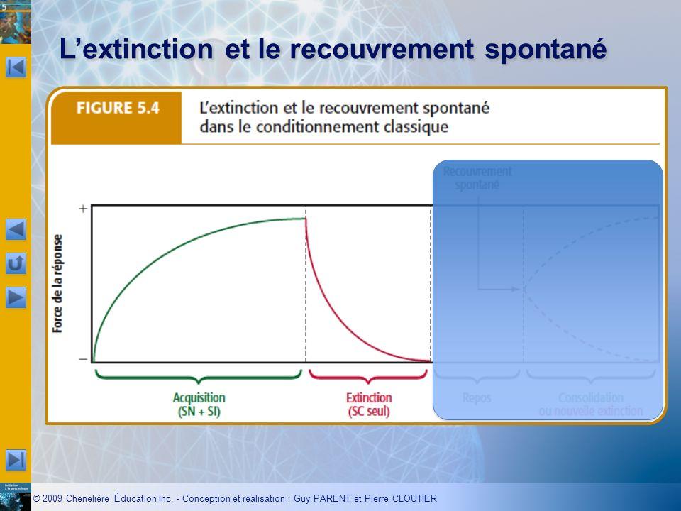 © 2009 Chenelière Éducation Inc. - Conception et réalisation : Guy PARENT et Pierre CLOUTIER Lextinction et le recouvrement spontané