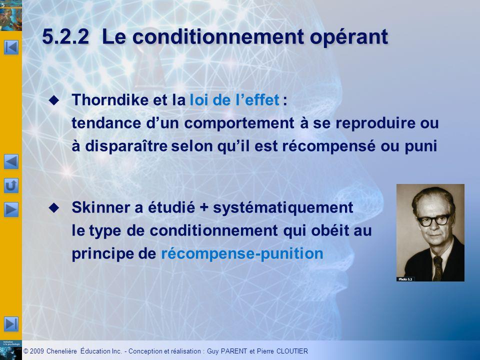 © 2009 Chenelière Éducation Inc. - Conception et réalisation : Guy PARENT et Pierre CLOUTIER 5.2.2Le conditionnement opérant loi de leffet Thorndike e