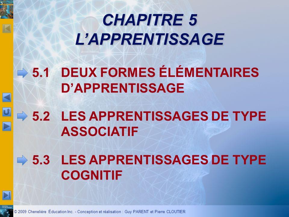 CHAPITRE 5 LAPPRENTISSAGE 5.1DEUX FORMES ÉLÉMENTAIRES DAPPRENTISSAGE 5.2LES APPRENTISSAGES DE TYPE ASSOCIATIF 5.3LES APPRENTISSAGES DE TYPE COGNITIF