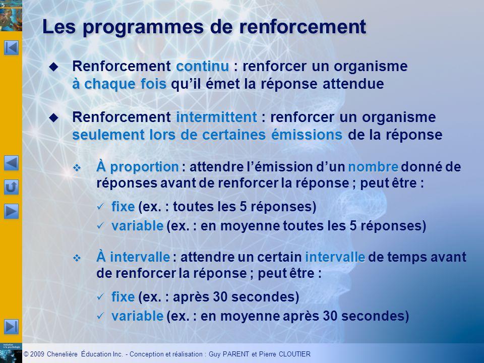 © 2009 Chenelière Éducation Inc. - Conception et réalisation : Guy PARENT et Pierre CLOUTIER Les programmes de renforcement continu à chaque fois Renf