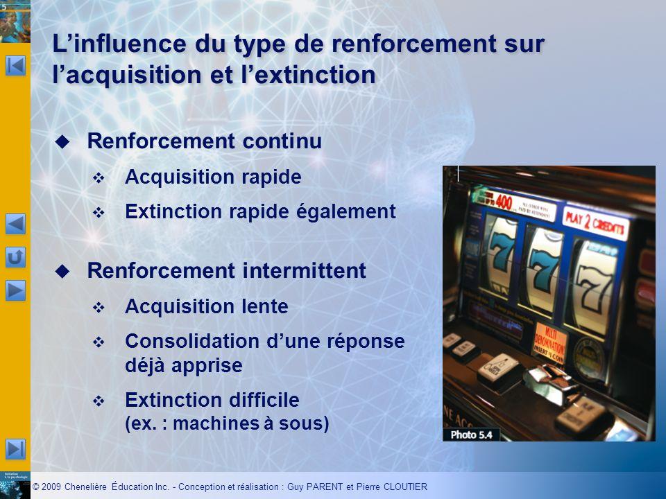 © 2009 Chenelière Éducation Inc. - Conception et réalisation : Guy PARENT et Pierre CLOUTIER Renforcement continu Acquisition rapide Extinction rapide
