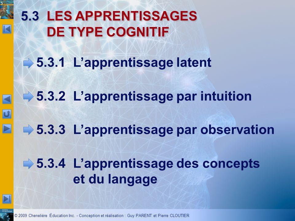 © 2009 Chenelière Éducation Inc. - Conception et réalisation : Guy PARENT et Pierre CLOUTIER 5.3LES APPRENTISSAGES DE TYPE COGNITIF 5.3.1Lapprentissag
