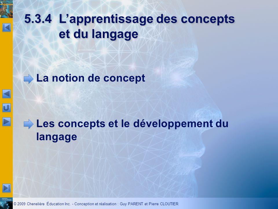 © 2009 Chenelière Éducation Inc. - Conception et réalisation : Guy PARENT et Pierre CLOUTIER 5.3.4Lapprentissage des concepts et du langage La notion