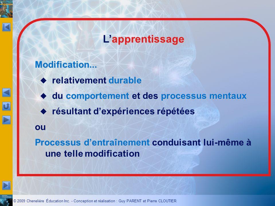 © 2009 Chenelière Éducation Inc. - Conception et réalisation : Guy PARENT et Pierre CLOUTIER apprentissage Lapprentissage Modification... durable rela