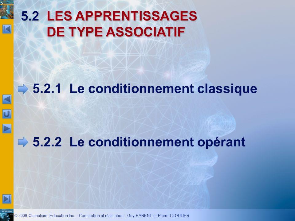 © 2009 Chenelière Éducation Inc. - Conception et réalisation : Guy PARENT et Pierre CLOUTIER 5.2LES APPRENTISSAGES DE TYPE ASSOCIATIF 5.2.1Le conditio