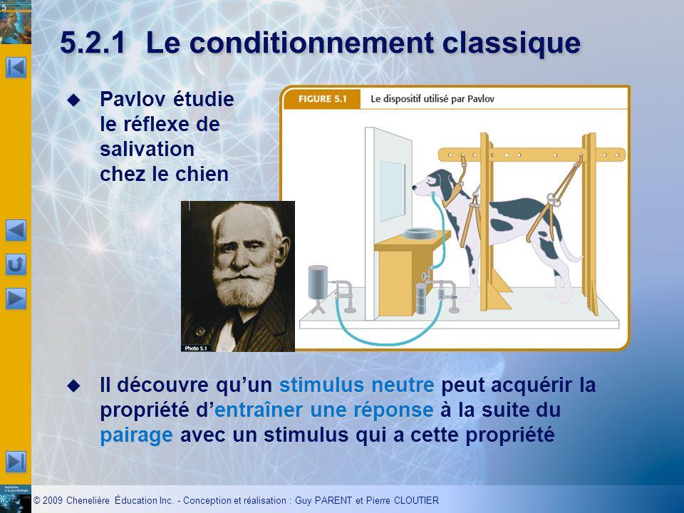 © 2009 Chenelière Éducation Inc. - Conception et réalisation : Guy PARENT et Pierre CLOUTIER 5.2.1Le conditionnement classique Pavlov étudie le réflex