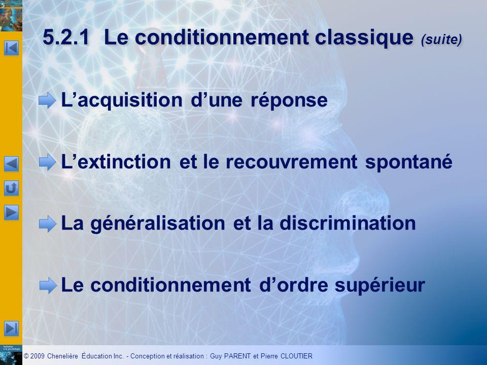 © 2009 Chenelière Éducation Inc. - Conception et réalisation : Guy PARENT et Pierre CLOUTIER 5.2.1Le conditionnement classique (suite) Lacquisition du