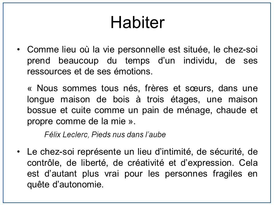 Habiter Comme lieu où la vie personnelle est située, le chez-soi prend beaucoup du temps dun individu, de ses ressources et de ses émotions. « Nous so