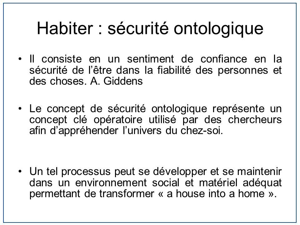 Habiter : sécurité ontologique Il consiste en un sentiment de confiance en la sécurité de lêtre dans la fiabilité des personnes et des choses. A. Gidd