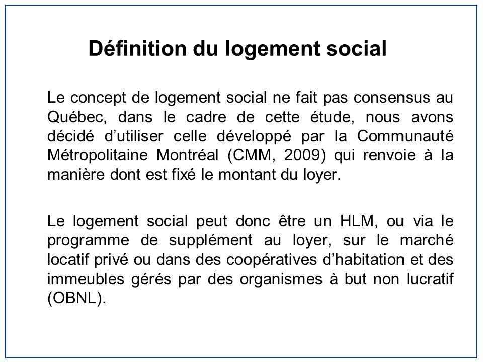 Définition du logement social Le concept de logement social ne fait pas consensus au Québec, dans le cadre de cette étude, nous avons décidé dutiliser