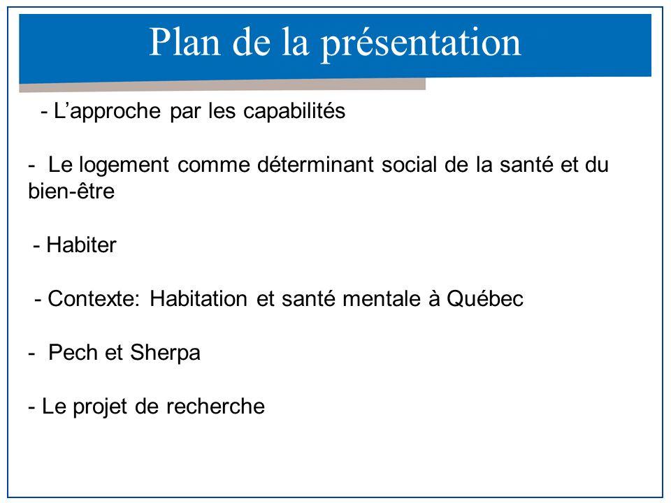 Plan de la présentation - Lapproche par les capabilités - Le logement comme déterminant social de la santé et du bien-être - Habiter - Contexte: Habit