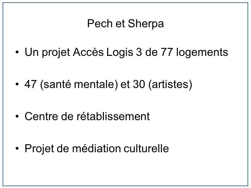 Pech et Sherpa Un projet Accès Logis 3 de 77 logements 47 (santé mentale) et 30 (artistes) Centre de rétablissement Projet de médiation culturelle