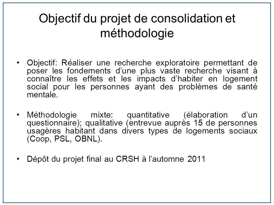Objectif du projet de consolidation et méthodologie Objectif: Réaliser une recherche exploratoire permettant de poser les fondements dune plus vaste r